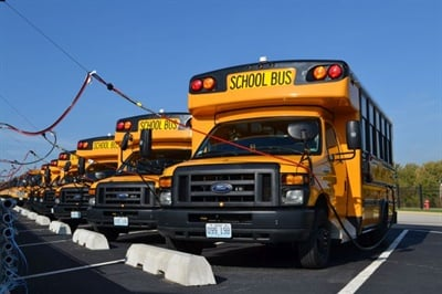 In 2016, Blue Springs (Mo.) School District bought 36 CNG buses. Shown here are some of the Collins Type A buses. Matt Godlewski of NGVAmerica points out that over the last 18 months, more CNG engine options have become available for Type C buses.