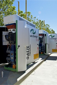 Peter Grace of Clean Energy says that the most popular CNG fueling setup for school bus fleets is a time-fill system. Pictured are time-fill compressors.
