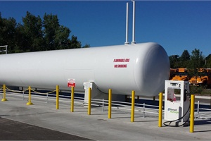 FerrellAutogas worked with a Wisconsin school district on a propane fueling station thatincludes a 30,000-gallon tank with three single-hose dispensers.
