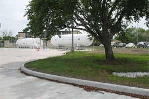 When the transportation department's new facility was built last year, a propane refueling station was installed on site, and steps were taken to preserve the trees around the building.