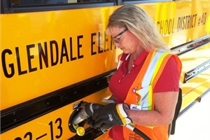 Bus drivers at Glendale (Ariz.) Elementary School District #40 are provided with protective goggles and gloves when they need to fuel the district's propane buses.