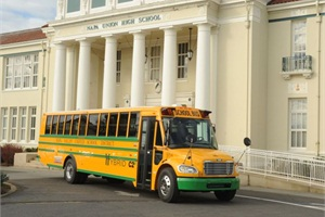Napa Valley Unified School District recently took delivery of five Thomas Built Buses C2e hybrid school buses, one of which is pictured here in front of the district's headquarters.