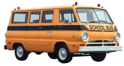 Shown here is one of the original vehicles the company built, a Dodge Fargo van.