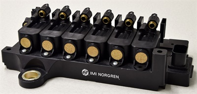 IMI Norgren's Latching Solenoid Valve Array can be used for on-vehicle applications such as on-chassis field expansions with no additional wiring or air supply.
