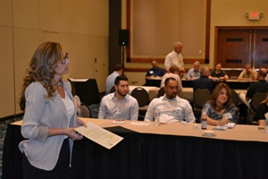 Attendees discuss maintenance and related issues in a roundtable led by NAPT board member Theresa Anderson.