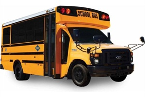 The new Collins Bus CNG Type A school bus is built on a Ford E450 chassis.