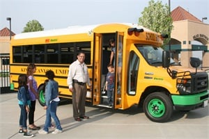 "Jason Flores, director of transportation at Kings Canyon Unified School District, says the district's SSTe buses from Trans Tech Bus ""complement"" other measures the district has taken over the years to protect students' health. ""We must do our part to serve as an example fleet,"" he says."