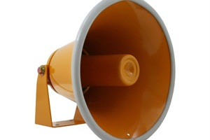 States such as Delaware have requirements for the location of external PA speakers. For Type A and B buses, that's on the left front side of the bus, forward of the front wheels. Pictured: REI's external PA horn.