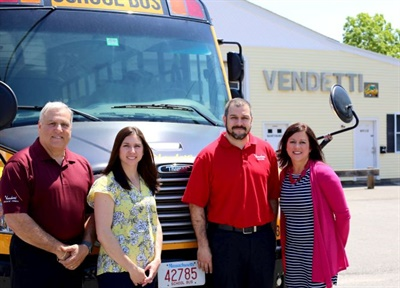 Family business Vendetti Motors has been transporting students for more than 50 years. From left are Joe Vendetti, Jenifer Vendetti-Ellis, Joey Vendetti, and Julie Vendetti-Lomberto.