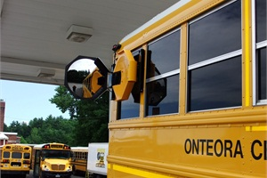 Woodstock Safety Mirror Co. offers a rear right-side stop arm equipped with an acrylic mirror. Company founder and President Gloria Buley says it's designed to bring the back of the bus closer for the driver so he or she can see if there is a child in the danger zone.