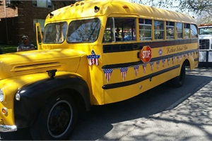 Kickert showed off this vintage school bus, a 1945 Ford with a Superior body, during the recent parade.