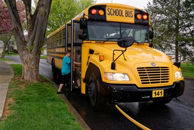 STI now transports 1.25 million students in the U.S. and Canada with a fleet of 13,500 school buses.