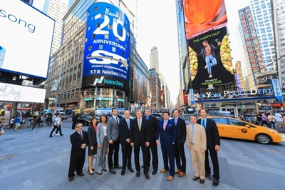 In May, Gallagher and other STI execs gathered in New York City to ring the closing bell for the Nasdaq Stock Market. Outside of the Nasdaq building, a giant display highlighted STI's 20th anniversary.