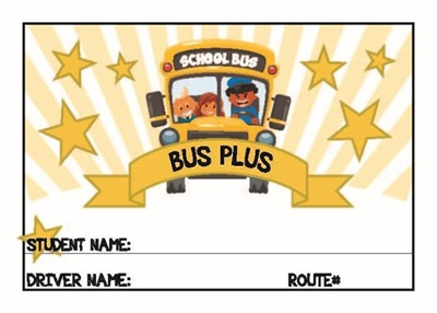 As extra incentive for students to improve their behavior on the bus, one Bus Plus ticket is worth twice as much as the tickets students earn in school.