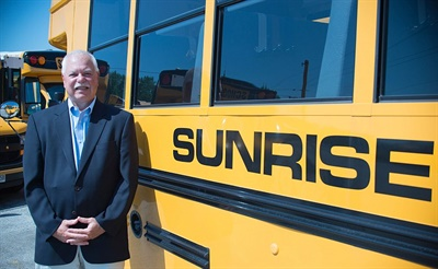 """School busing is very service oriented – you have to find the needs for each school district,"" says Robert Hach, president and CEO of Sunrise Transportation in Crestwood, Illinois. Photo by Barry Poole"
