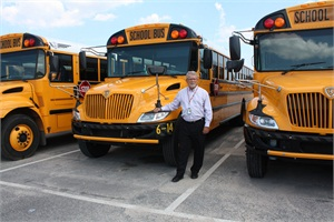 The School District of Escambia County (Fla.) has seen a decline in the number of minor school bus driver at-fault accidents due to training drivers to use a more proactive driving approach. Shown here is Robert Doss, director of transportation for the district.
