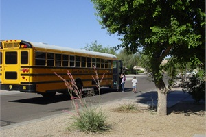 Queen Creek (Ariz.) Unified School District #95 strives to put its bus stops in residential neighborhoods, away from busy thoroughfares. Photo courtesy of Queen Creek (Ariz.) Unified School District #95.