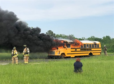 Stafford County (Va.) Public Schools worked with the local fire department to burn an obsolete school bus. The event emphasized the importance of evacuation training.