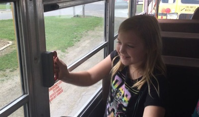In Mid-Prairie Community School District's evacuation training program, students learned how to use all of the emergency exits on a school bus.