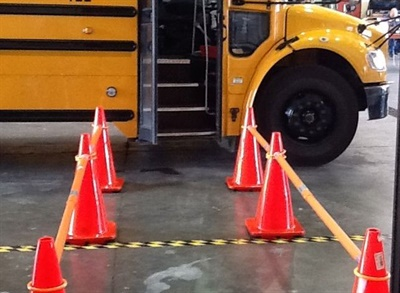 Catoosa County uses safety chutes at all school unloading zones, designed to keep exiting students walking 12 feet away from the bus.