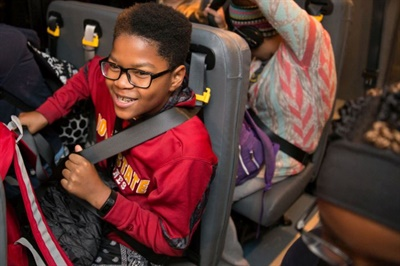 The convertibility of SynTec Seating Solutions' SC3 seats with lap-shoulder belts was a particular advantage when the supplier partnered with Des Moines (Iowa) Public Schools in 2016 on a seat belt use test.