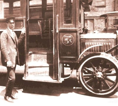 Corrado's family has deep roots in the bus business. Seen here is his grandfather, also named John Corrado, who began providing transit service in New York City in 1922.