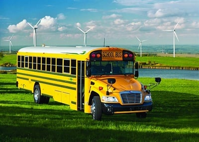 École St. Mary, Regina Catholic School Division has added 89 of the new fourth generation Blue Bird Vision Propane buses. Shown here is a fourth-generation version of the bus, which was unveiled by Blue Bird in July.