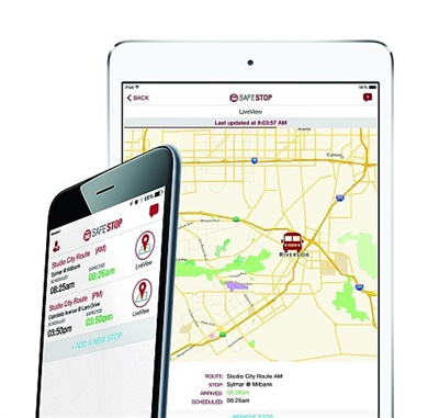 The SafeStop app gives parents access to their child's bus location and expected arrival time, and school transportation staff access to on-time performance, driver performance, and route information.