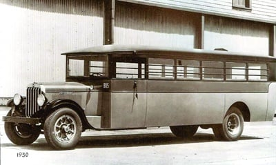 Typical school bus construction of the era consisted of a truck chassis with a wooden frame and covered bodies inside and out. This is not the bus that was in the train crash, which was a 1927 Moreland truck with an enclosed wooden top and sides. Photo courtesy Louk Markham