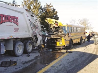 A story about a crash involving a school bus and garbage truck, which sent a total of 21 people to the hospital, was the most-viewed news item on theSBFwebsite this year. Photo courtesy Indiana State Police