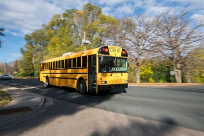 Mobile connectivity solutions supplier Kajeetis partnering with IC Bus and OnCommand Connection to provide more students with filteredWi-Fi service while on the school bus.Shown here is an RE Series IC Bus.