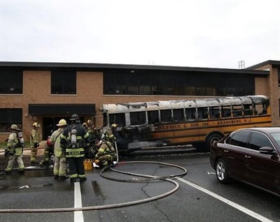 The fire appeared to have been caused by a mechanical issue in the Middletown ( N.J.) Public Schools bus. No one was on board when it caught fire. Photo courtesy Middletown Township Fire Department