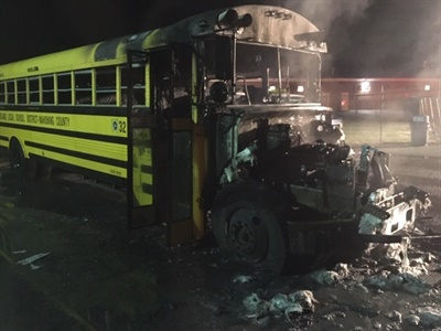 The fire reportedly started in the engine compartment of the Poland (Ohio) Local Schools bus. No one was on board the bus when it caught fire. Photo courtesy Western Reserve Joint Fire District