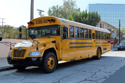 Roush CleanTech's California Road Show included educational sessions and a ride-and-drive of a Blue Bird Vision propane school bus (shown here), among other propane-powered vehicles.