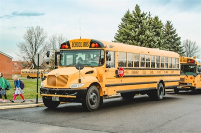 Olentangy Local School District has more than 180 school buses in its fleet, including 26 spare buses and 16 buses with wheelchair lifts. Photo courtesy Olentangy Local School District
