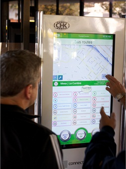 Santa Barbara Metropolitan Transit District's ConnectPoint transit kiosk. Courtesy CHK America