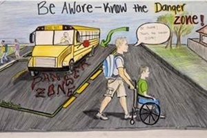"The 2011 theme for School Bus Safety Week is ""Be Aware — Know the Danger Zone."" Pictured is the winning poster from the NAPT's 2010 National School Bus Safety Week Poster Contest."