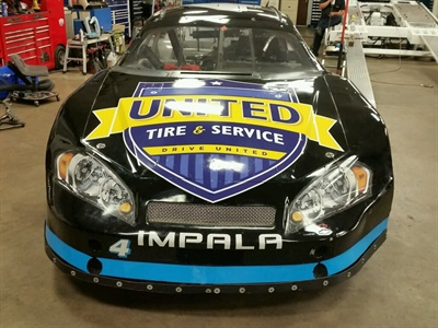 United Tire & Service is promoting its brand on the Super Cup Stock Car Series in a car driven by Steve Harvilla, a founding member of Unite Tire & Service and owner of two stores.