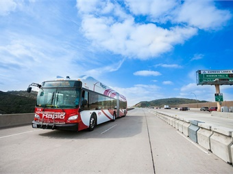 MTS plans to use 17 of the articulated buses currently in production for its new South Bay bus rapid transit (BRT) service expected to open later this year. San Diego MTS