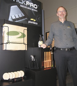 Robert Champagne, Plombco's director of customer service, says new StickPro kits contain everything a shop needs to remove and replace adhesive wheel weights.