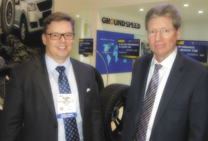 """""""Our premium brand is going to be Groundspeed,"""" says Michael Perkins, senior vice president of sales and marketing for Sentury Tire North America LLC (right, with CEO Rami Helminen)."""
