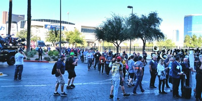 Long line formed at the Las Vegas Convention Center, signaling good attendance for the SEMA Show and the Global Tire Expo.