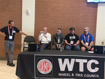 Gregory Parker, on the left, moderated a panel discussion of experts during the SEMA Wheel and Tire Council meeting on Oct. 29. Participating in the panel, from the left, were Stuart Gosswein, John Healy, Myles Kovacs and Tyson Boyer.