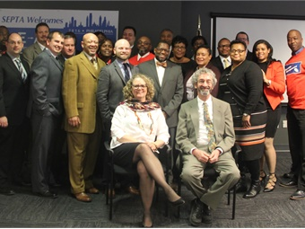 SEPTA's AIM AD employee development program students celebrated their graduation along with program facilitators Jennifer Barrett and Josh Gottlieb (shown seated in front of studetns). Photo: SEPTA