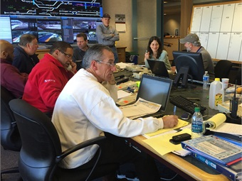SEPTA staff monitoring the conditions and working on a service restoration plan in Control Center of agency's downtown Philadelphia headquarters. Photo: SEPTA