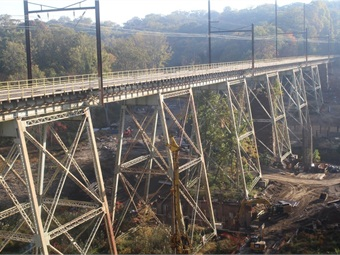 One of the projects SEPTA was able to undertake with the ACT 89 funding is the replacement of the Crum Creek Viaduct on its Media/Elwyn Regional (commuter) Rail Line.  Photo: SEPTA