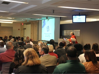 SEPTA DBE Program Manager Mary Connell spoke to a standing room only crowded at the Authority's most recent networking event. Photo: SEPTA