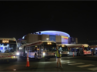 SEPTA buses at site of Democratic National Convention. Photo: SEPTA