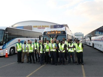 Members of SEPTA's operations staff on site at the Wells Fargo Center with buses. Photo: SEPTA