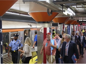 Delegates boarding SEPTA's Broad Street Line subway at AT&T Station, which was located just outside of the Wells Fargo Center (site of the DNC). Photo: SEPTA